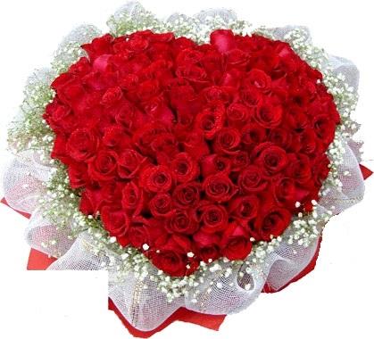 Kalp şeklinde 101 Adet Kırmızı Gül