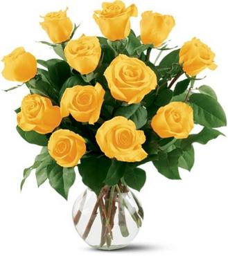 Vazo içerisinde 12 sarı Gül