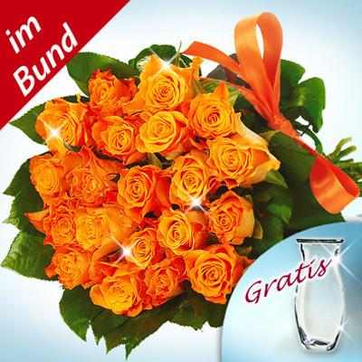 20 Adet turuncu renkli güllerden oluşan buket