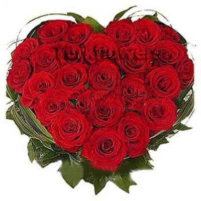 30 Adet Kırmızı gülden Oluşan Kalp Aranjman