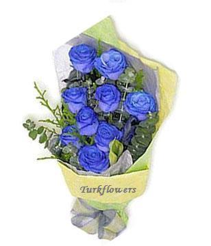 9 Adet mavi gül Buketi