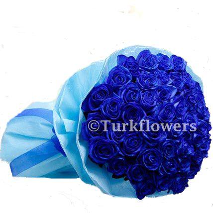 50 Mavi Gül Buketi