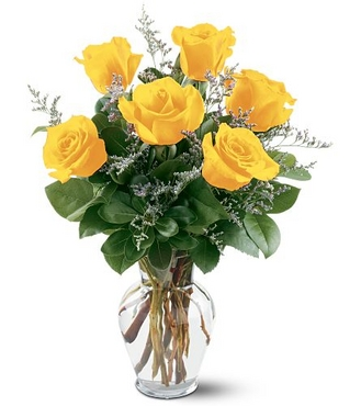 Vazo içerisinde 6 Sarı Gül