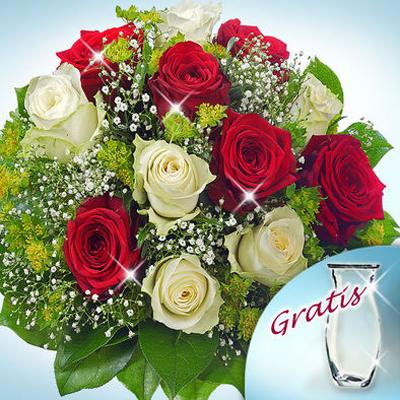 6 Adet Kırmızı gül ve 6 Adet Beyaz güllerden oluşan buket