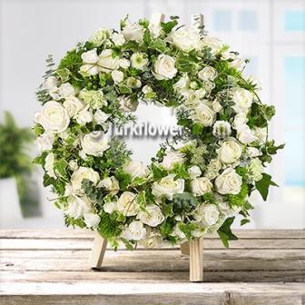Beyaz çiçeklerden oluşan Cenaze Taziye çiçeği ∅ 50 cm