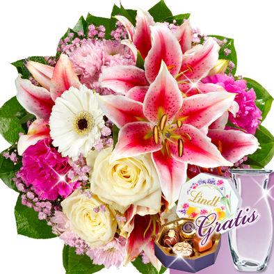 Vazo hediyeli lilyum güller ve çikolatalar