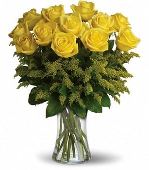Cam vazo içerisinde 12 Ader Sarı Gül