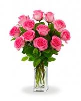 12 Adet pembe Renkli Güllerden Oluşan Buket