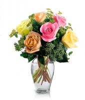 6 Adet Renkli Güllerden Oluşan Buket