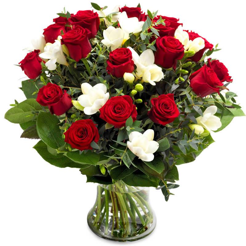 Kırmızı güller Ve kokulu Frezyalar