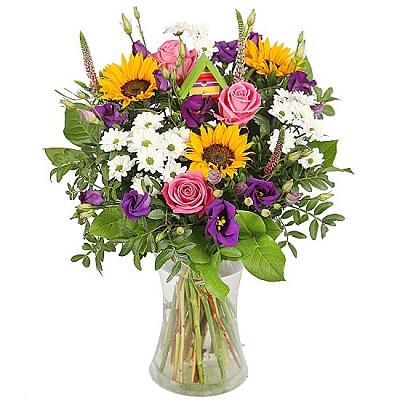 Yaz aşkı Ayçiçeği ve Güller