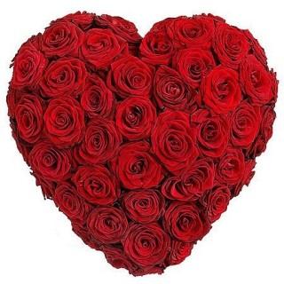51 Kalp Şeklinde Gül aranjman