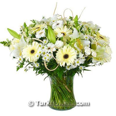 Beyaz lilyum ve beyaz çiçekler