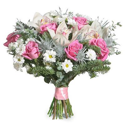 Orkide ve Pembe güllerden Oluşan Özel buket