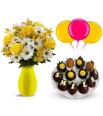 Çiçek Çilek ve balon süprizi