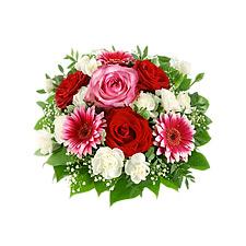 Pembe kırmızı ve beyaz güllerden oluşan buket