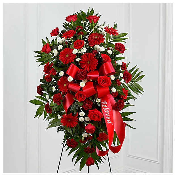 kırmızı Tonlarda cenaze çiçeği