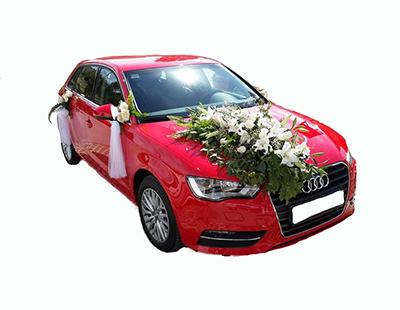 Beyaz çiçeklerden oluşan Gelin Arabası