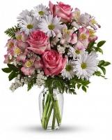 Papatya ve güllerden oluşan renkli buket