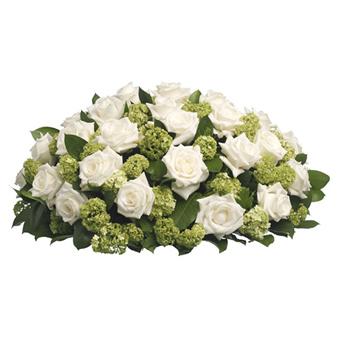 Beyaz güllerden oluşan Taziye çiçeği