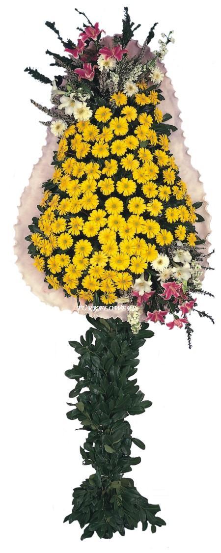 Sarı enkli gerberalardan oluşan Ayaklı sepet Düğün - Açılış çiçeği