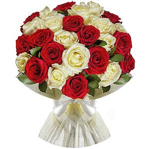 25 Kırmızı Beyaz Güller