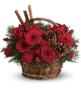 Kırmızı Güller ve Kırmızı Gerberalar`dan oluşan sepet aranjman