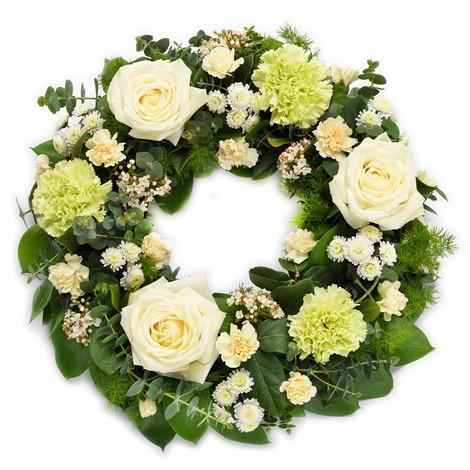 Beyaz Yuvarlak cenaze Cicegi