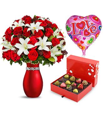 Çiçek Çilek ve Balon Aşk Paketi