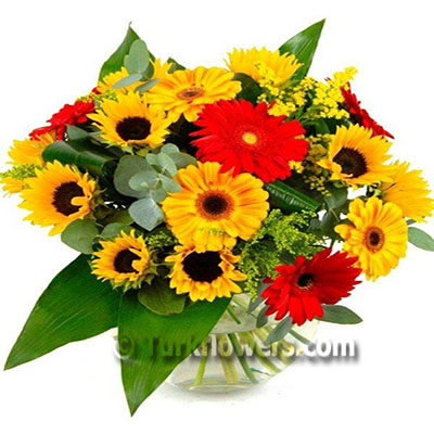 Güneşi Getirdim - Ayçiçeği ve Renkli gerberalardan oluşan aranjman