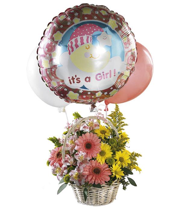 Balonlu çiçeklerden oluşan kız bebek doğum çiçeği
