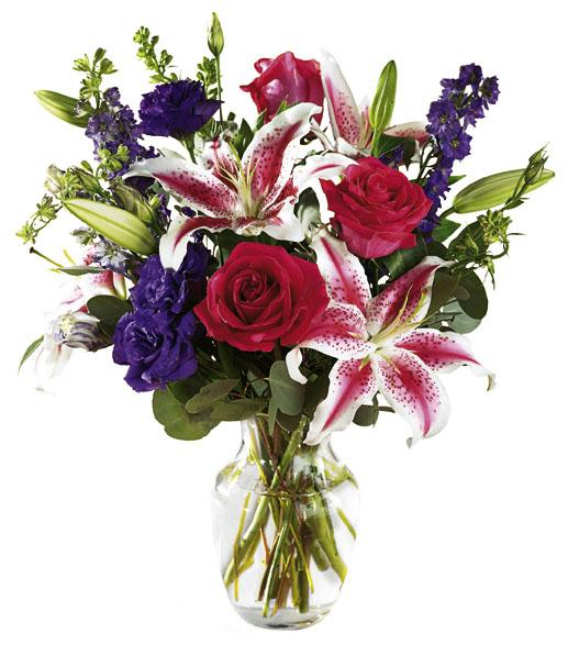 Renkli çiçeklerden oluşan aranjman