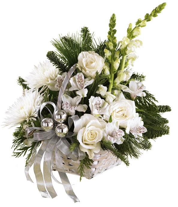 sepet içerisinde beyaz çiçeklerden olşan aranjman