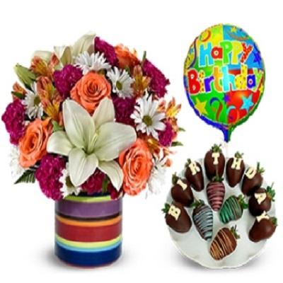 Doğum Günü Çiçek çikolata ve balon