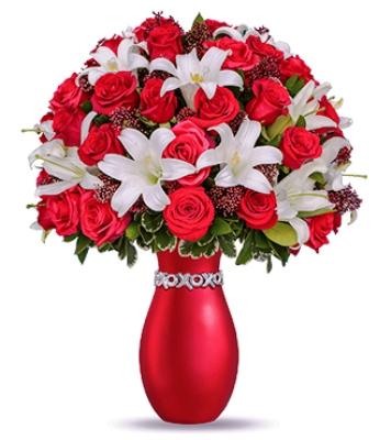 Özel Vazoda Özel Aranjman Beyaz lilyum ve Kıırmızı Güller