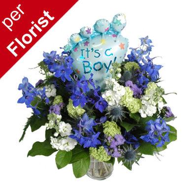 Yeni bebek doğum çiçeği - Erkek bebek