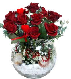 Cam fanus vazo`da 9 adet kırmızı gülden oluşan aranjman