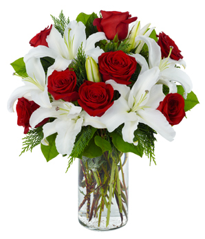 Lilyum ve Güllerden Oluşan aranjman
