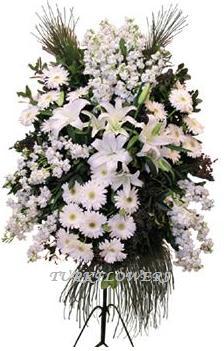 Beyaz lilyum gelbera ve mevsim çiçeklerinden oluşan ferforje, Nikah - Düğün-Açılış Çiçeği