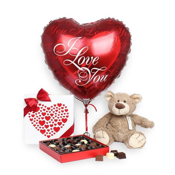 Helyum Kalp Balon çikolata ayıcık