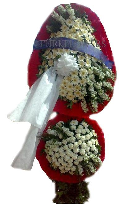 Kırmızı beyaz ikili ayaklı sepet( çelenk) Düğün - Nikah , Açılış ve Toplantı modeli