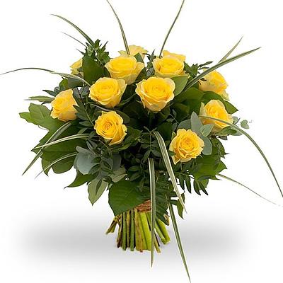 12 adet sarı güllerden oluşan buket