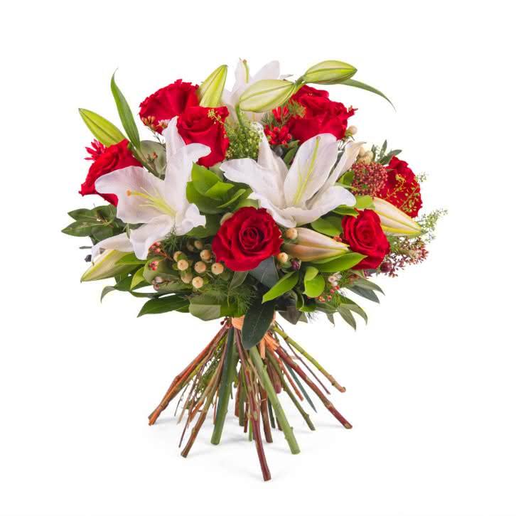 Kırmızı Güller ve Lilyum Buketi