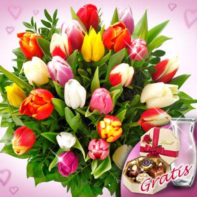 20 Adet Karışık renkli laleler çikolata ve cam vazo hediyeli