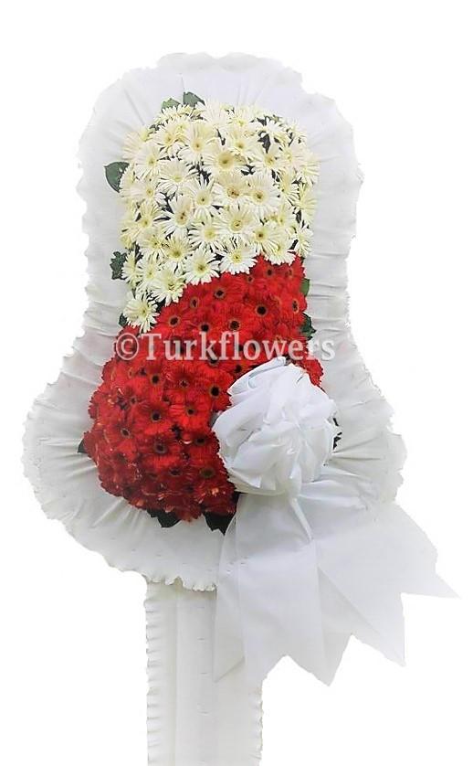 Düğün çiçeği - Çelenk Kırmızı Beyaz