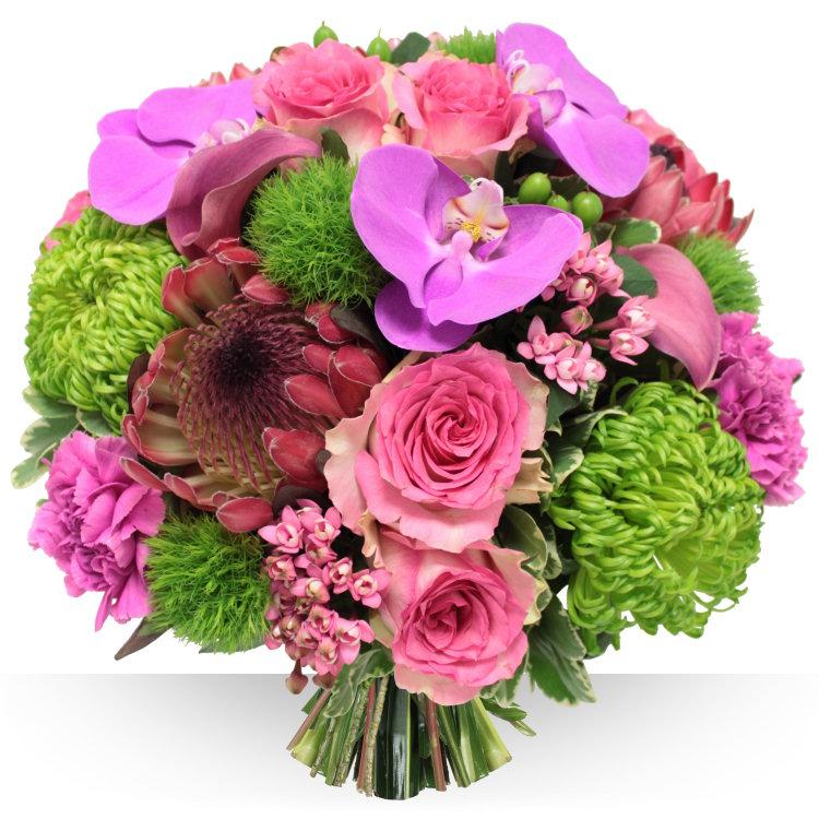orkide ve Güllerden oluşan buket