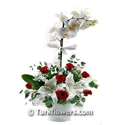 Sevgiliye orkide Gül ve Lilyum