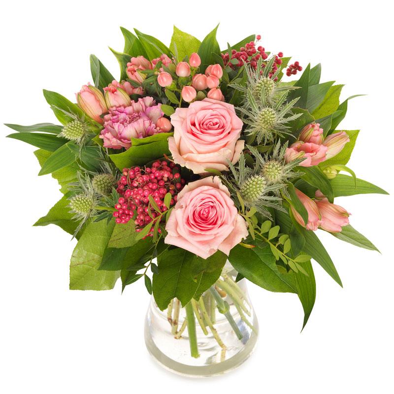 Pembe Gül ve Çiçeklerden Oluşan Buket