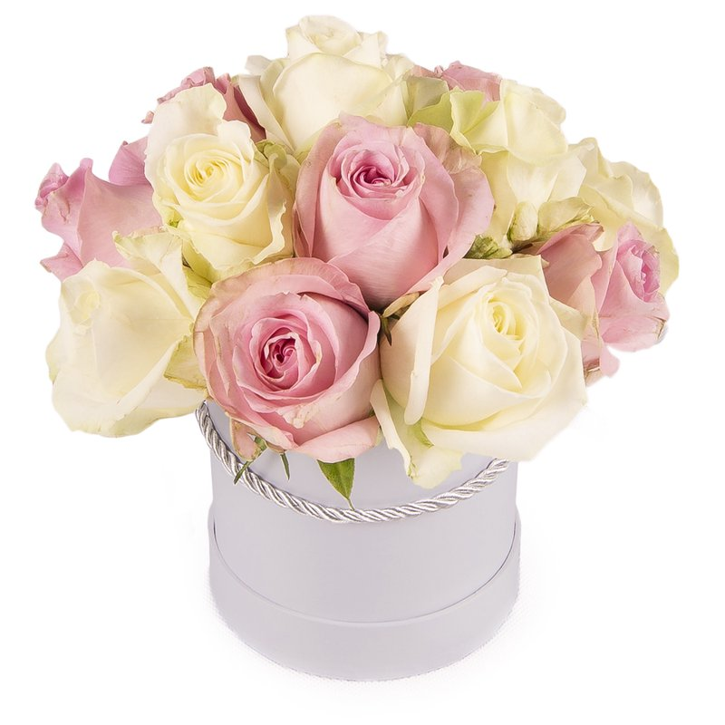 Kutuda 15 Pembe Beyaz Güller