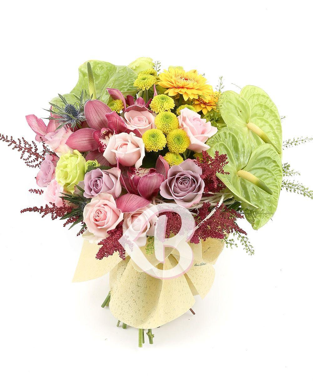 Antoryum orkide ve Güllerden Buket